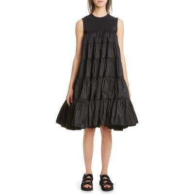 Cecilie Bahnsen Emmi Tiered Faille Midi Dress, US / 6 UK - Black