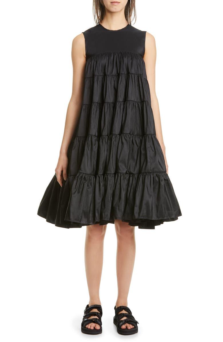CECILIE BAHNSEN Emmi Tiered Faille Midi Dress, Main, color, BLACK