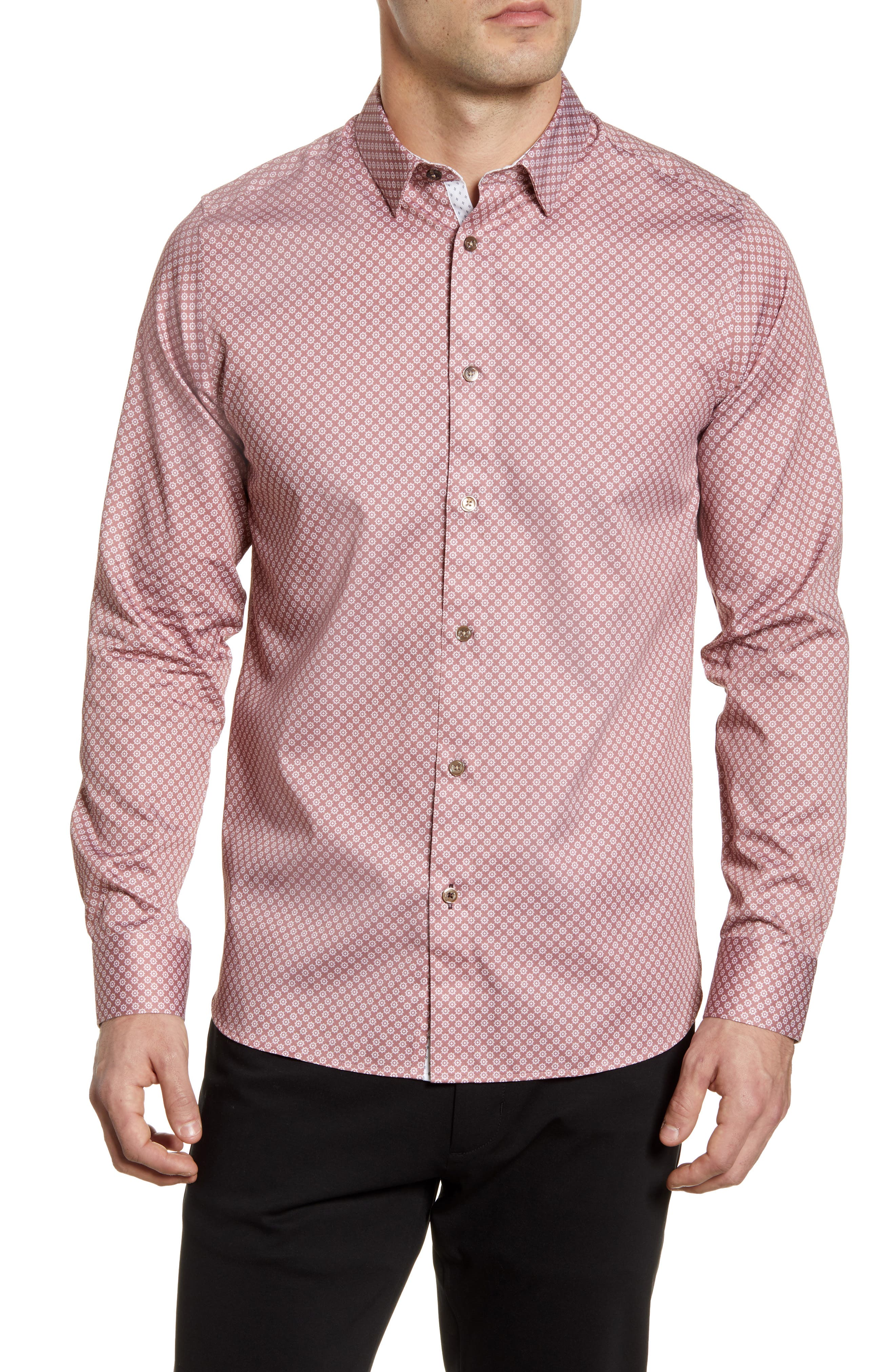 Image of Ted Baker London Flynow Slim Fit Geo Print Button-Up Shirt