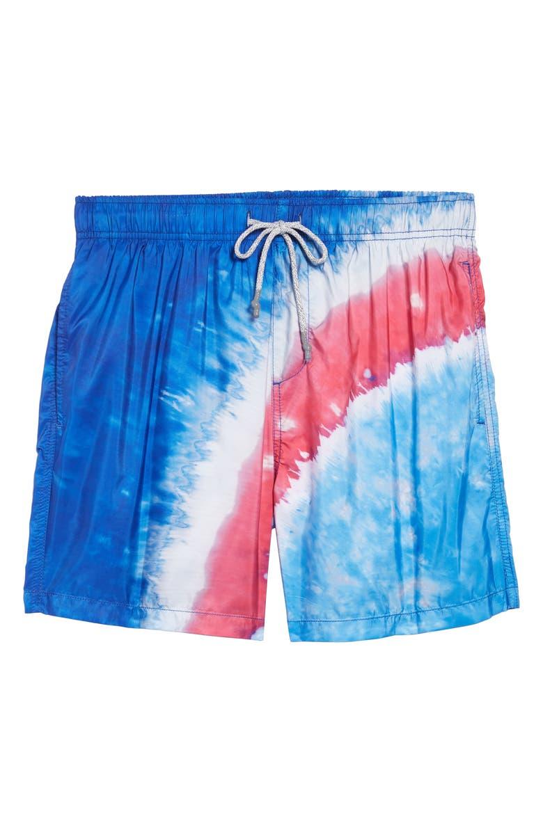 VINTAGE SUMMER Tie Dye Swim Trunks, Main, color, 430