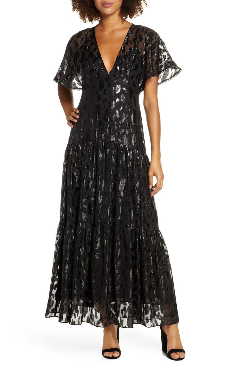 EVER NEW Animal Jacquard Maxi Dress, Main, color, 001