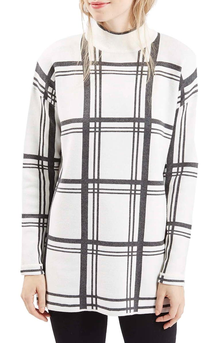 TOPSHOP Jacquard Check Tunic Sweater, Main, color, 900