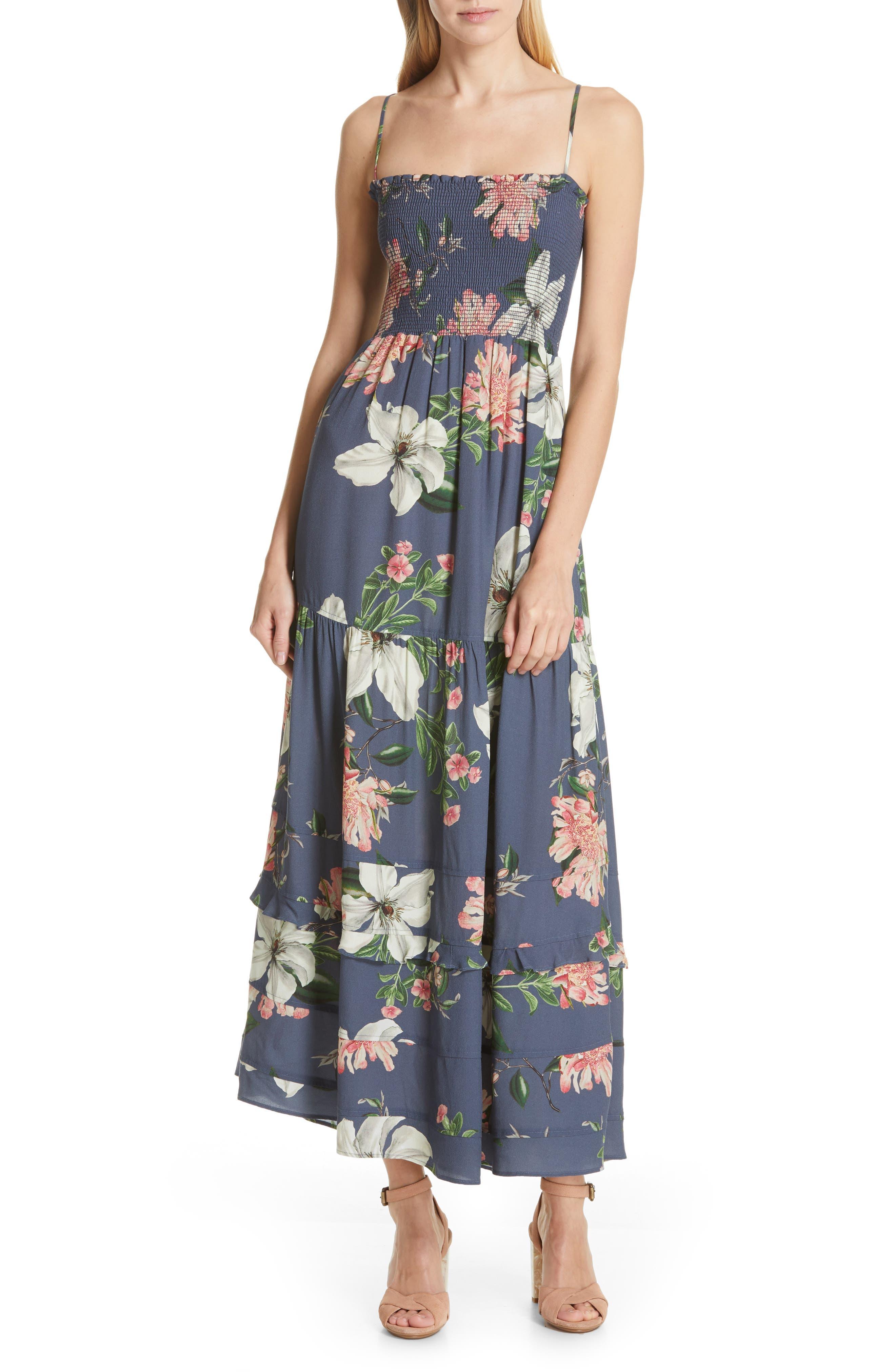 Dolan Hazel Smocked Bodice Maxi Sundress, Blue