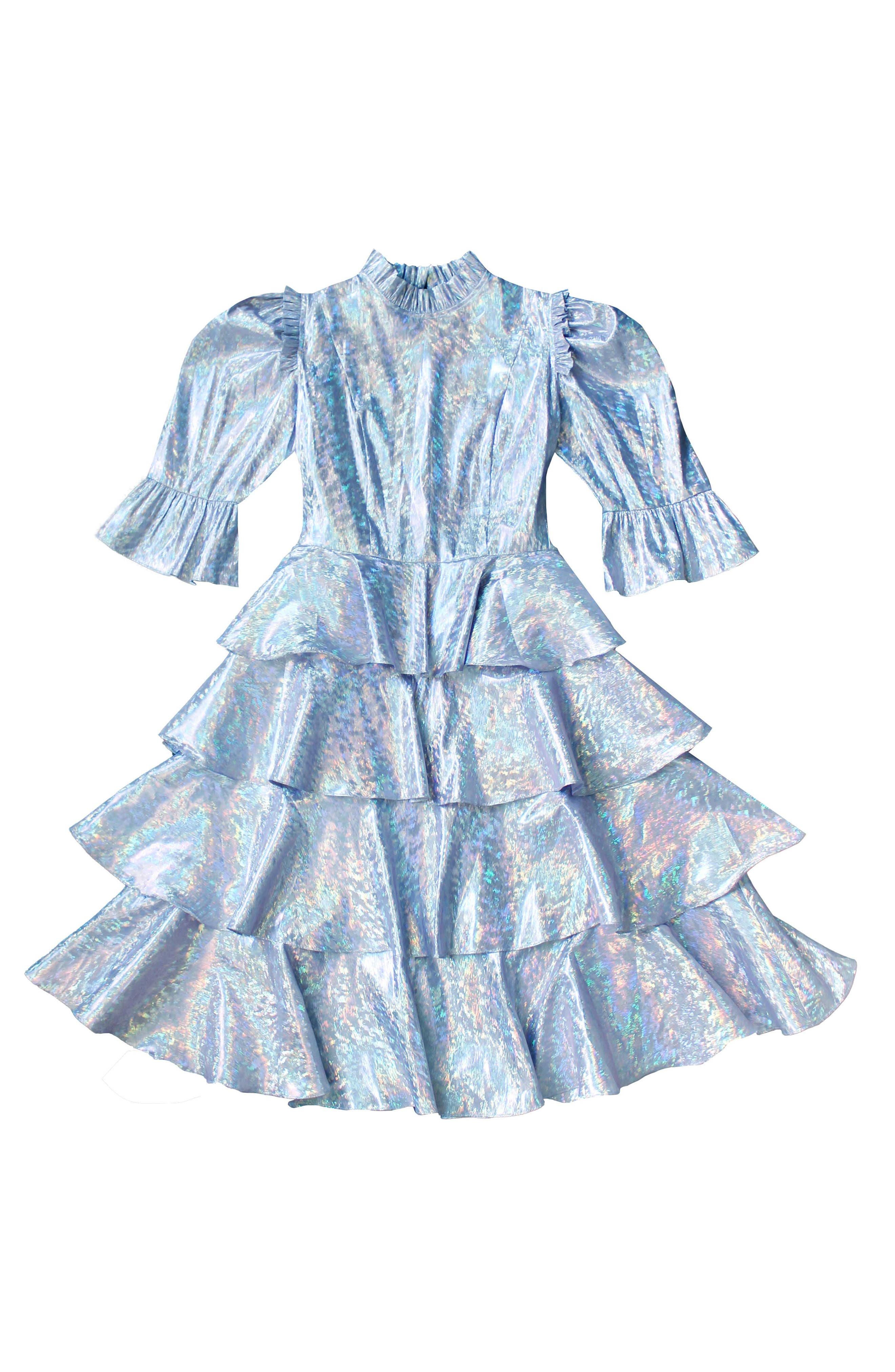Spring Confection Holographic Tiered Ruffle Dress
