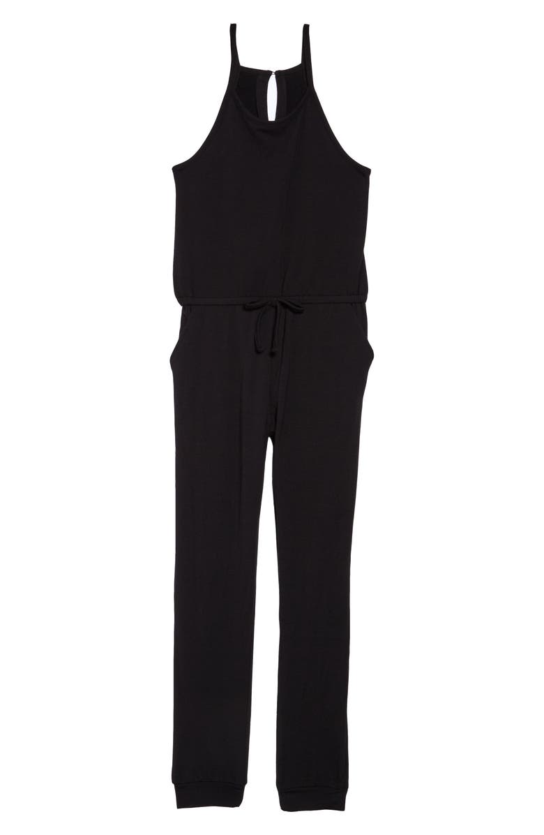 HABITUAL Girl Lorrie Loose Knit Jumpsuit, Main, color, BLACK