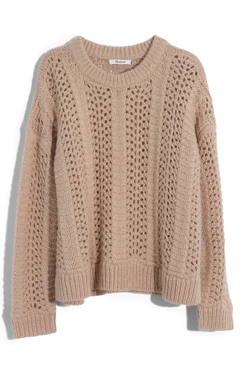 MADEWELL Windemere Pointelle Pullover Sweater, Main, color, BISQUE