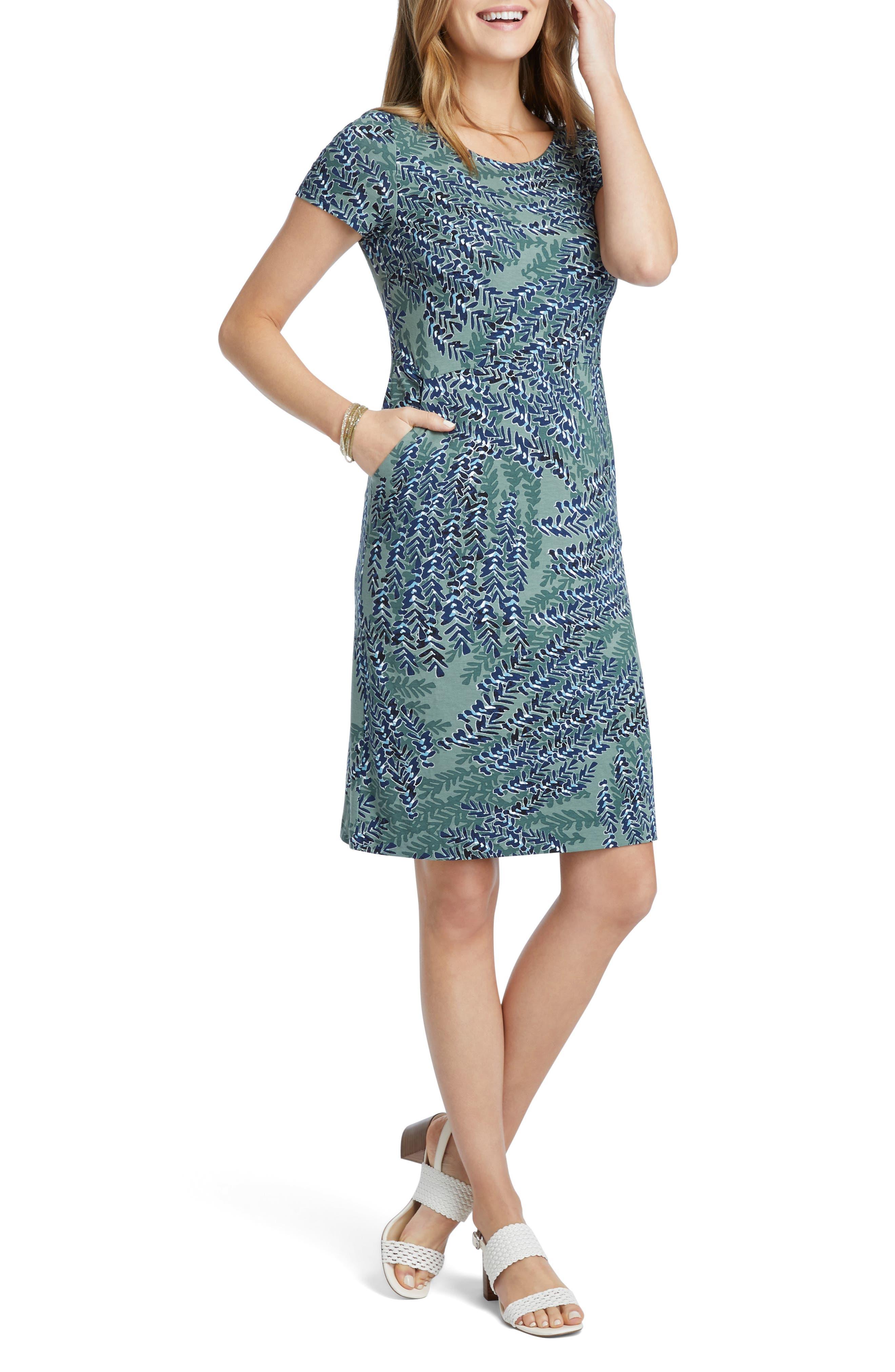 Nic+Zoe Leaf Print Sheath Dress, Green