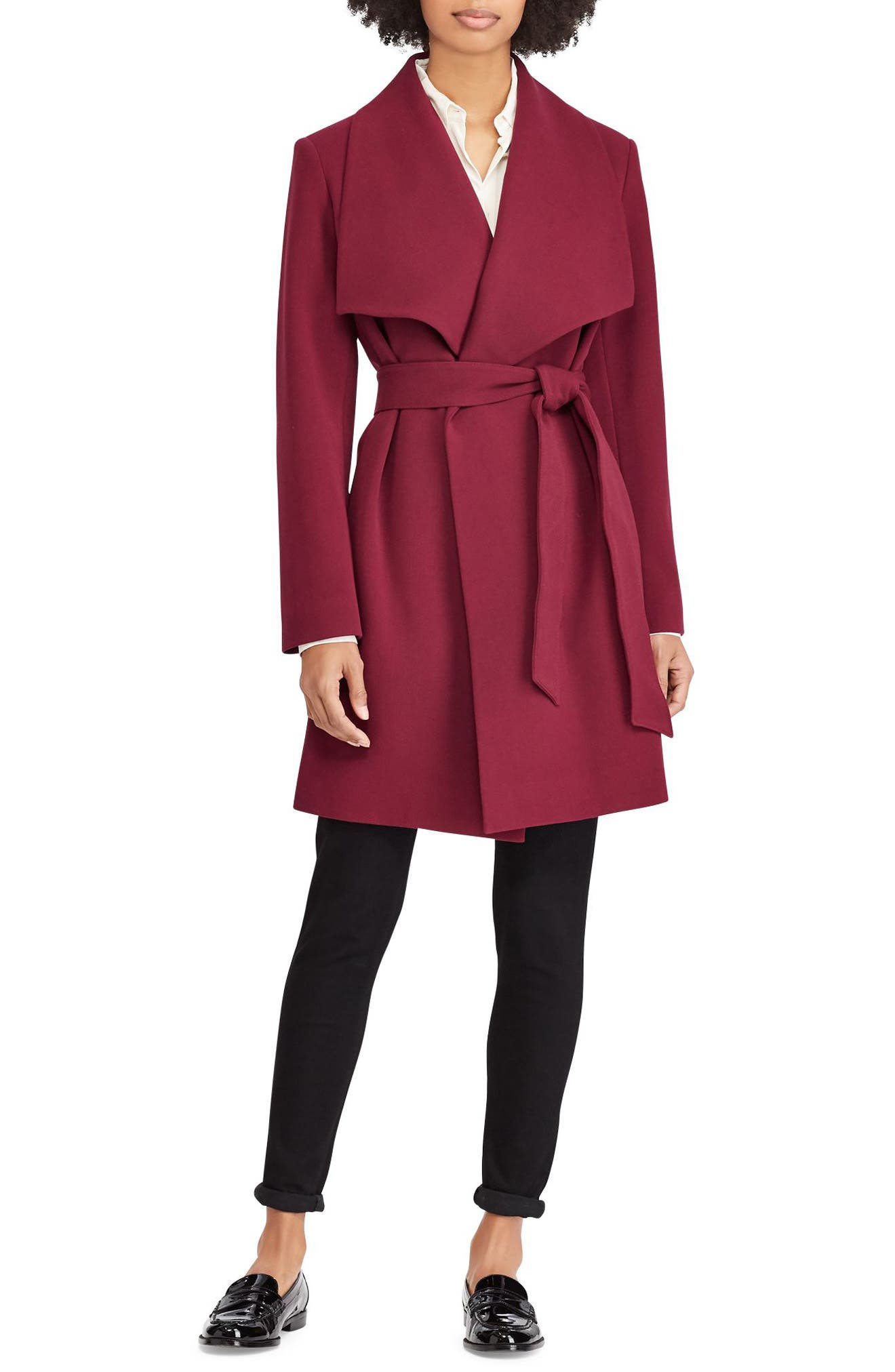 ,                             Belted Drape Front Coat,                             Main thumbnail 32, color,                             938