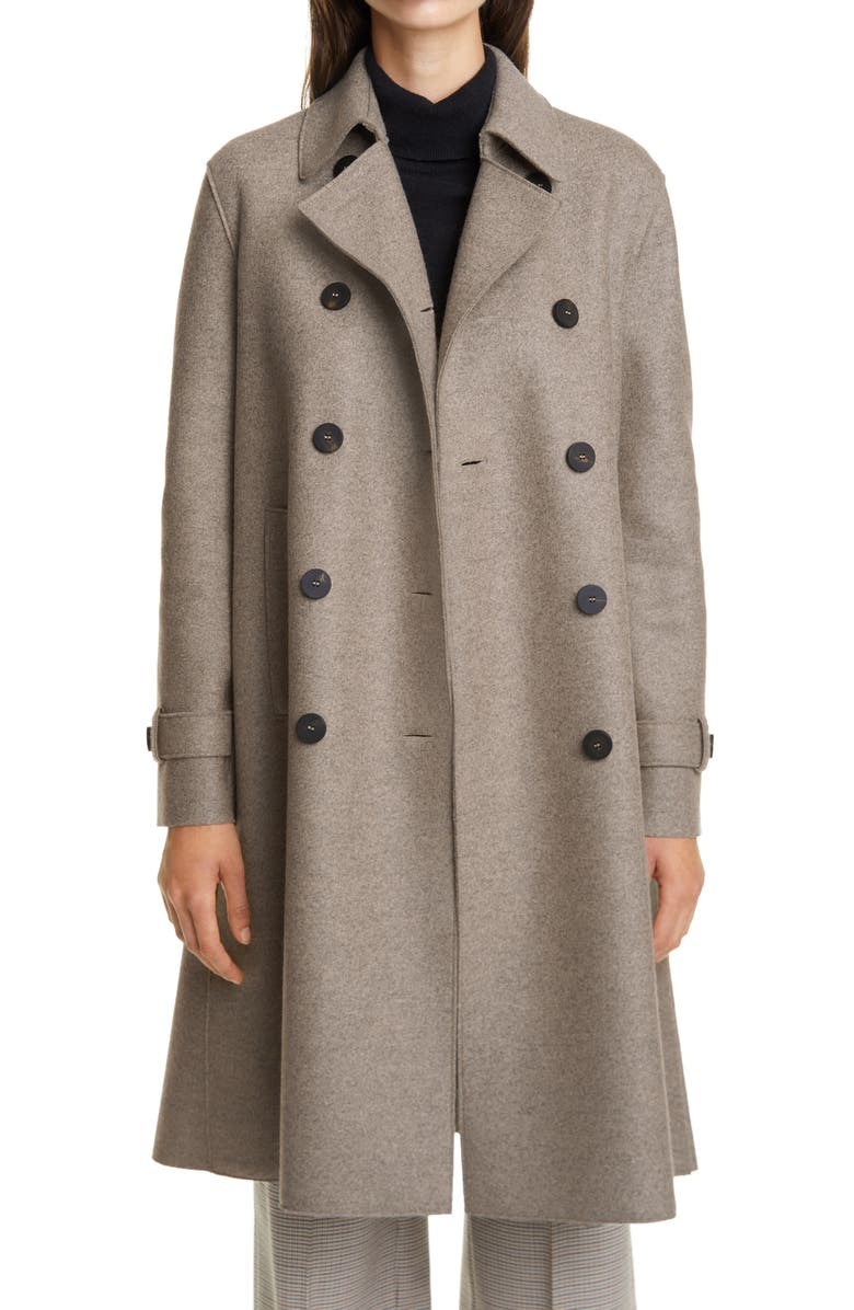 HARRIS WHARF LONDON Pressed Wool Double Breasted Trench Coat, Main, color, 650
