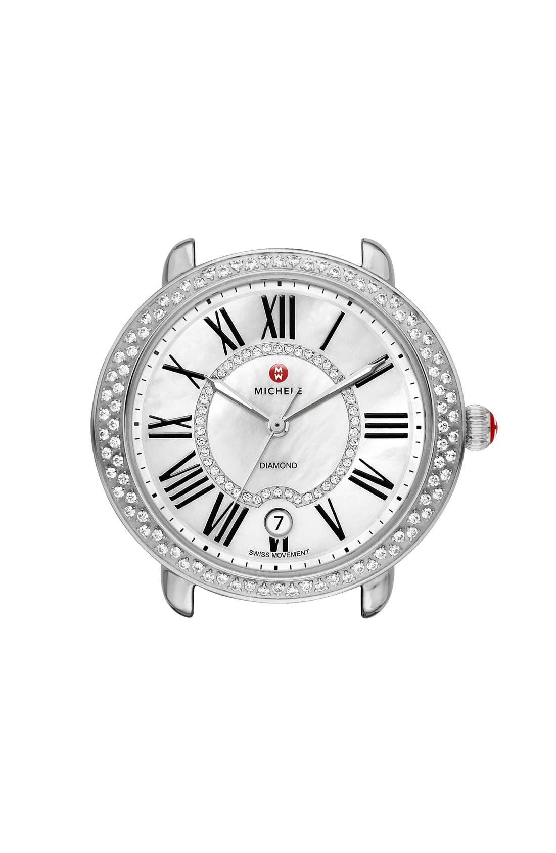 ,                             Serein 16 Diamond Watch Case, 34mm x 36mm,                             Main thumbnail 1, color,                             SILVER/ WHITE
