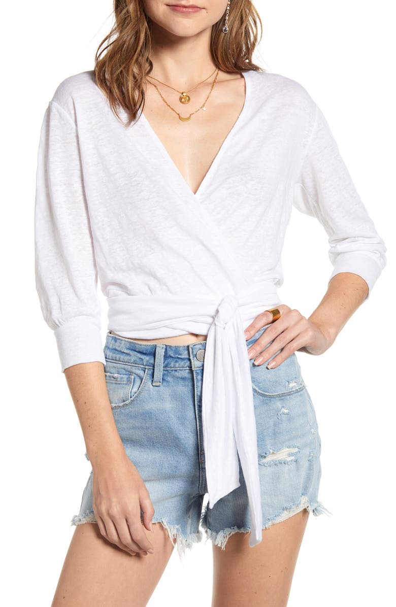 TREASURE & BOND Linen Knit Wrap Top, Main, color, 100