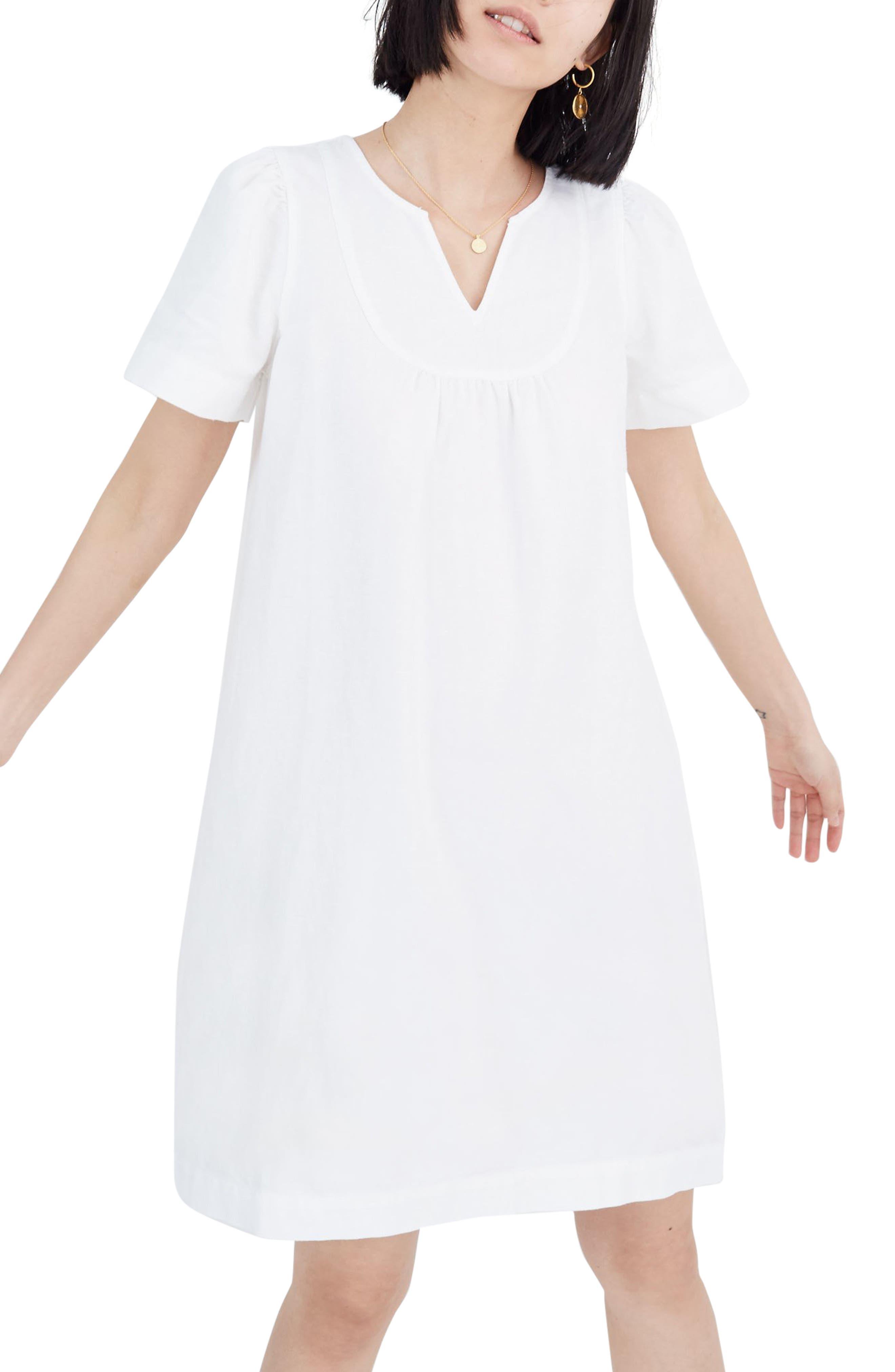Madewell Popover Pure White Denim Swing Dress, White