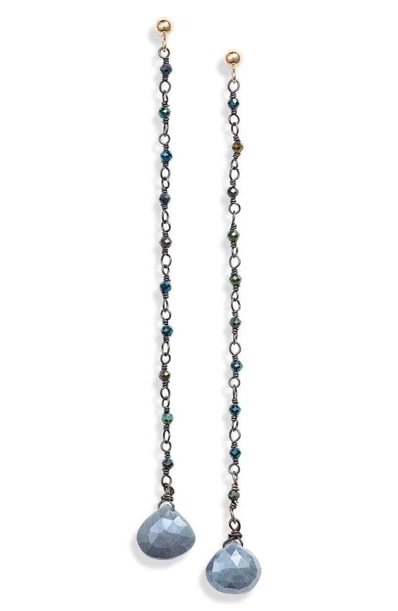 ELA RAE Long Semiprecious Stone Drop Earrings, Main, color, 001