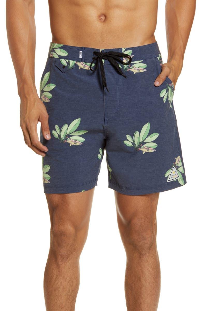 BANKS JOURNAL PCP Sharks Board Shorts, Main, color, DDN- DIRTY DENIM