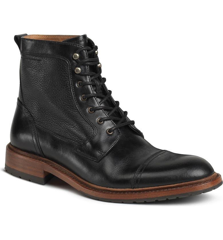 TRASK 'Lowell' Cap Toe Boot, Main, color, BLACK