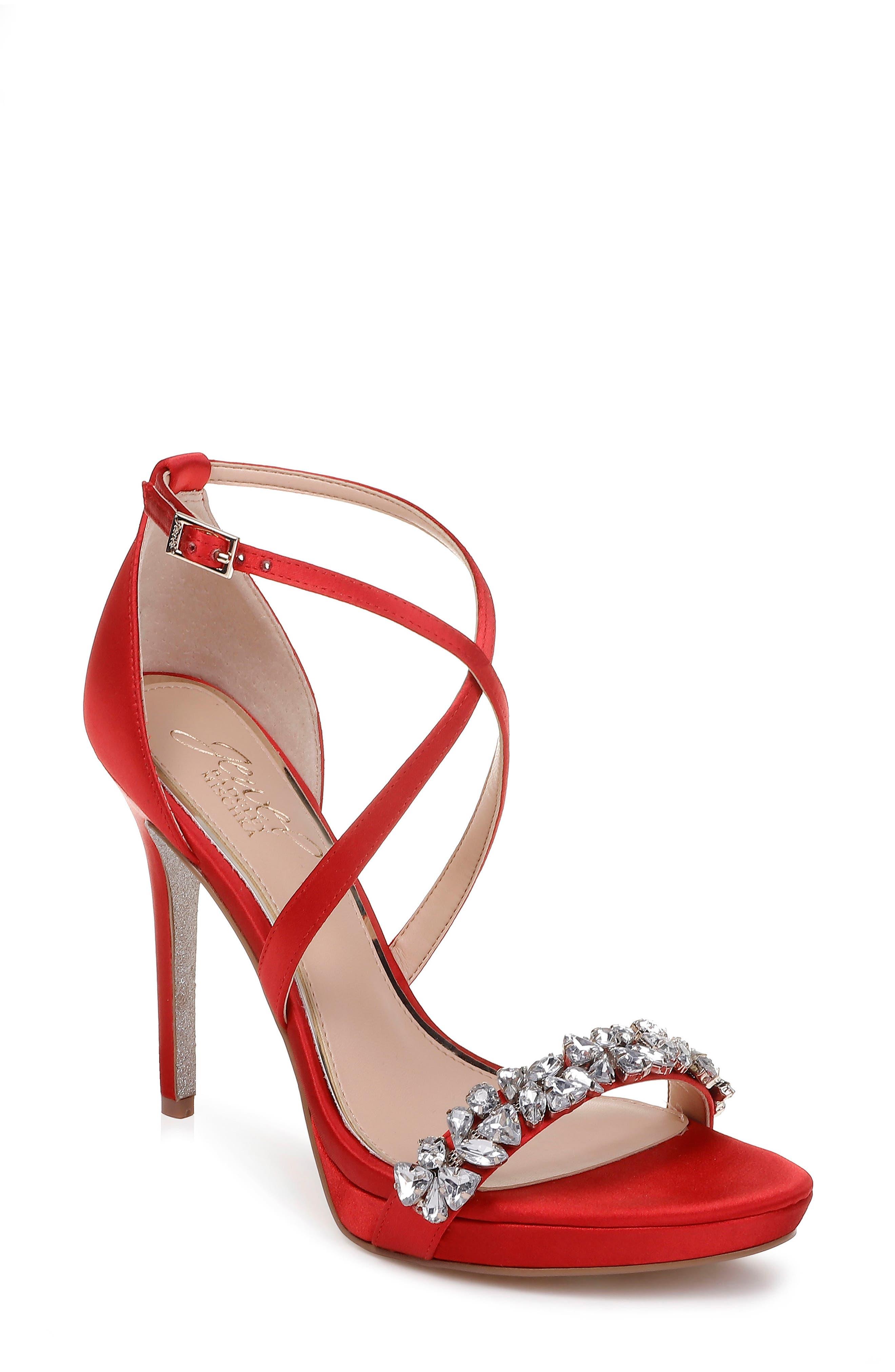 Jewel Badgley Mischka Dany Strappy Sandal- Red