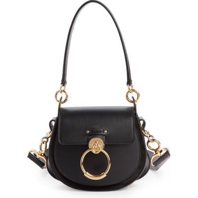 Chloe Small Tess Calfskin Leather Shoulder Bag - Black
