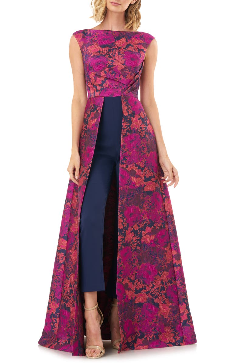 KAY UNGER Poppy Jacquard & Stretch Crepe Maxi Romper, Main, color, 693