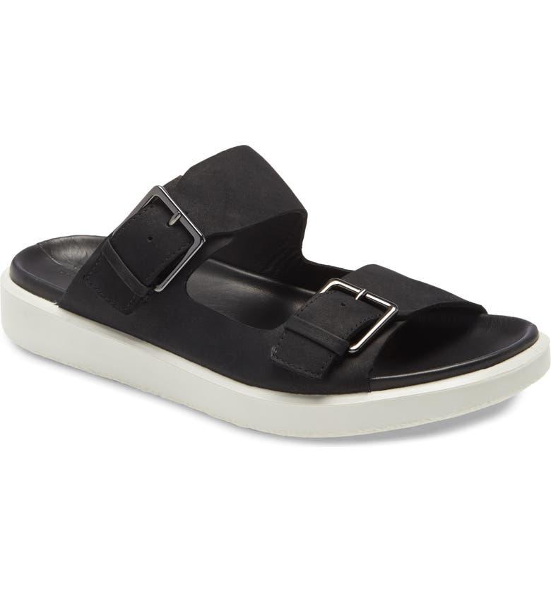 ECCO Flowt LX Slide Sandal, Main, color, BLACK/ WHITE