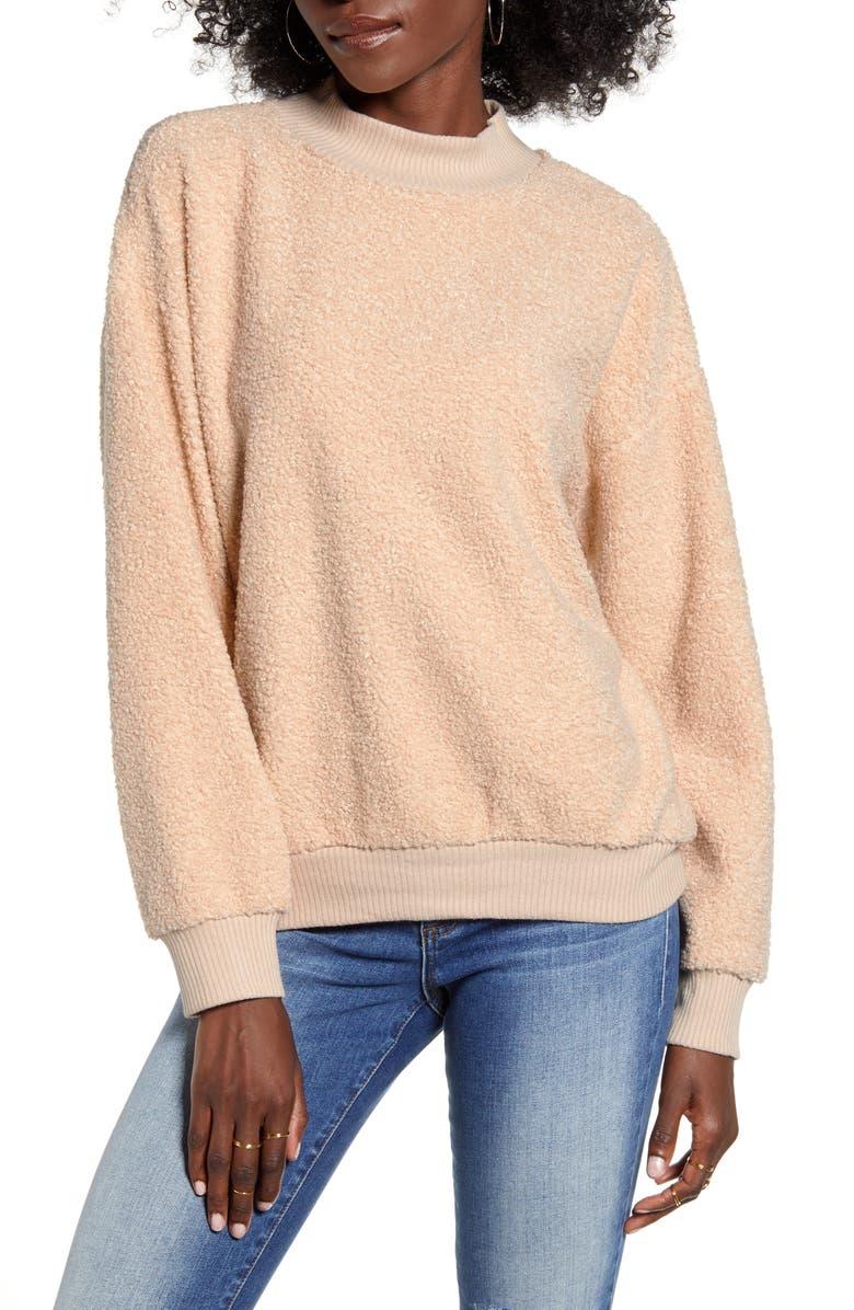 SOCIALITE Teddy Mock Neck Sweatshirt, Main, color, SAND