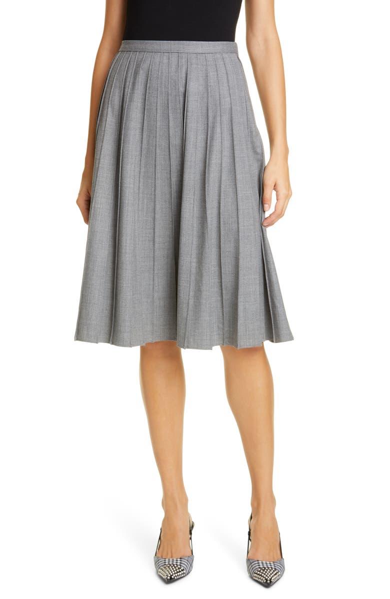 MICHAEL KORS COLLECTION Pleated A-Line Skirt, Main, color, BANKER MELANGE