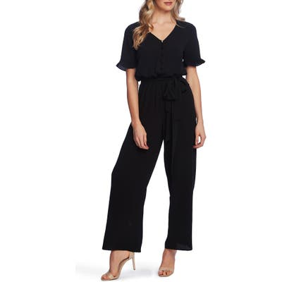 Cece Ruffle Sleeve Belted Jumpsuit
