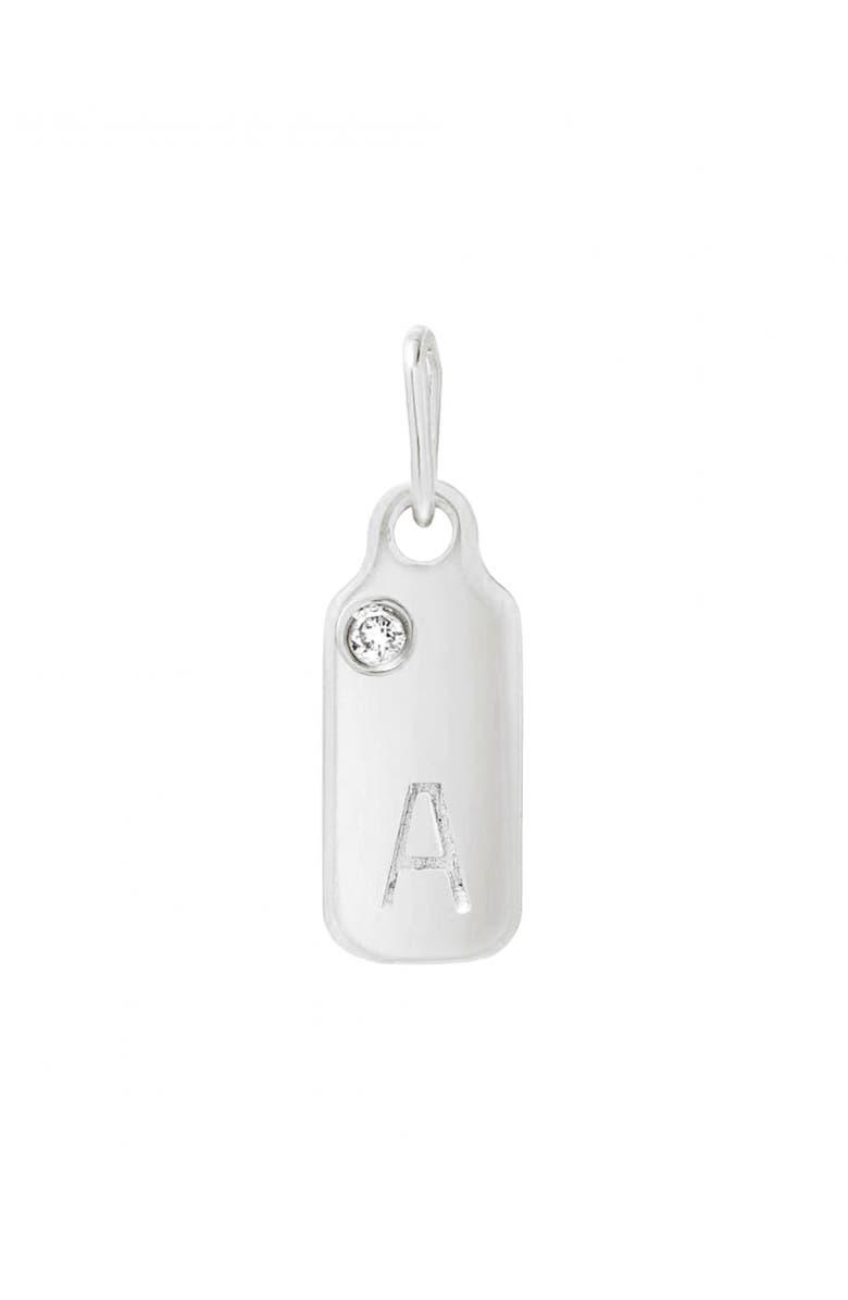 MINI MINI JEWELS Diamond Accented Initial Dog Tag Pendant, Main, color, WHITE GOLD-A