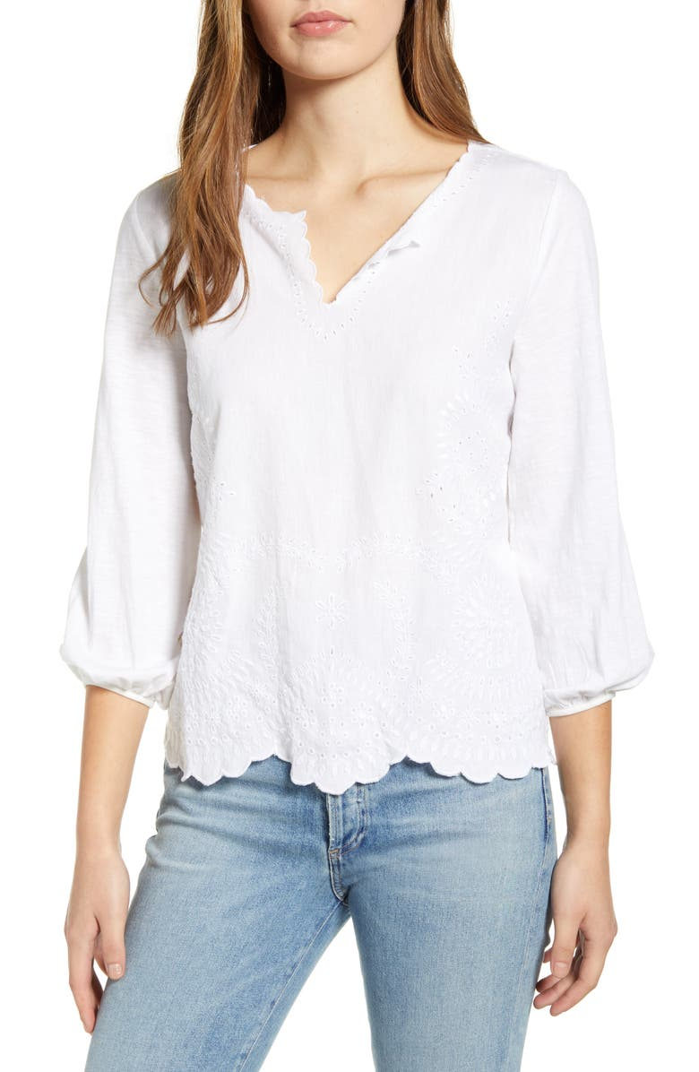 LUCKY BRAND Eyelet Embroidered Top, Main, color, 144