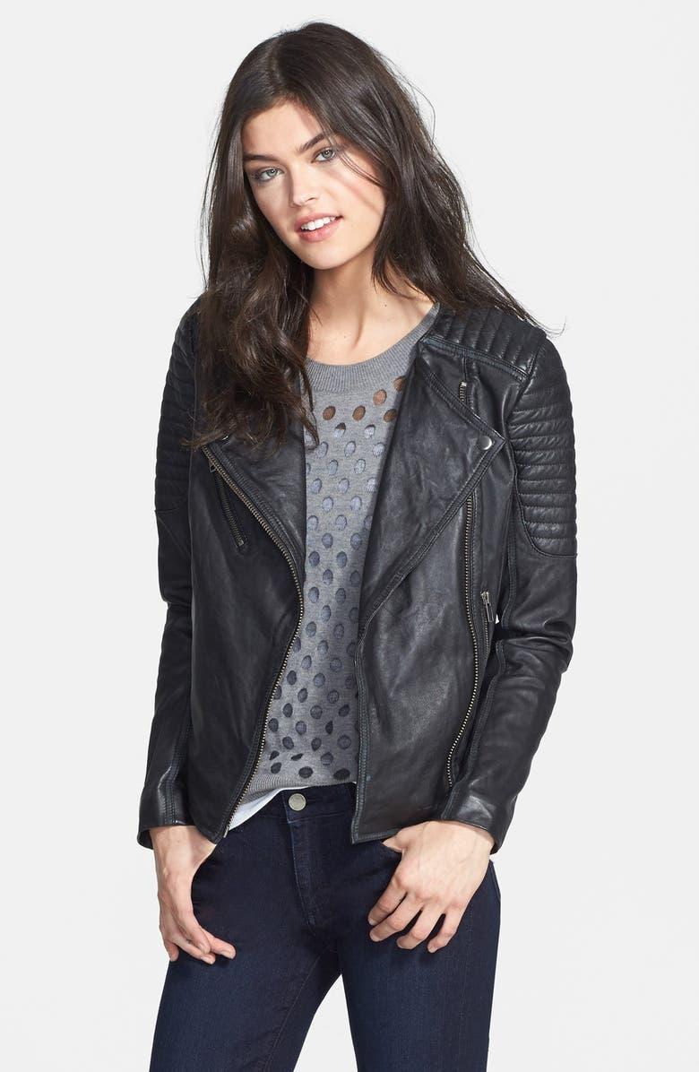 TREASURE & BOND Treasure&Bond Quilted Leather Moto Jacket, Main, color, 001