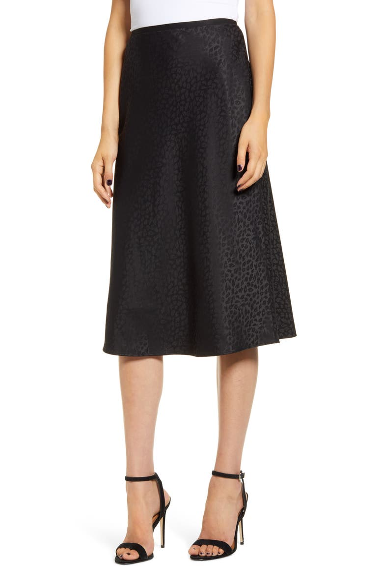 CHELSEA28 Bias Jacquard Skirt, Main, color, BLACK