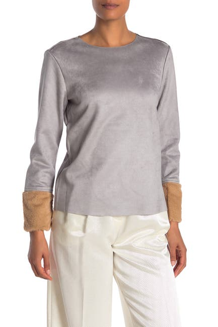 Image of Catherine Catherine Malandrino Faux Suede Faux Fur Cuff Long Sleeve Top