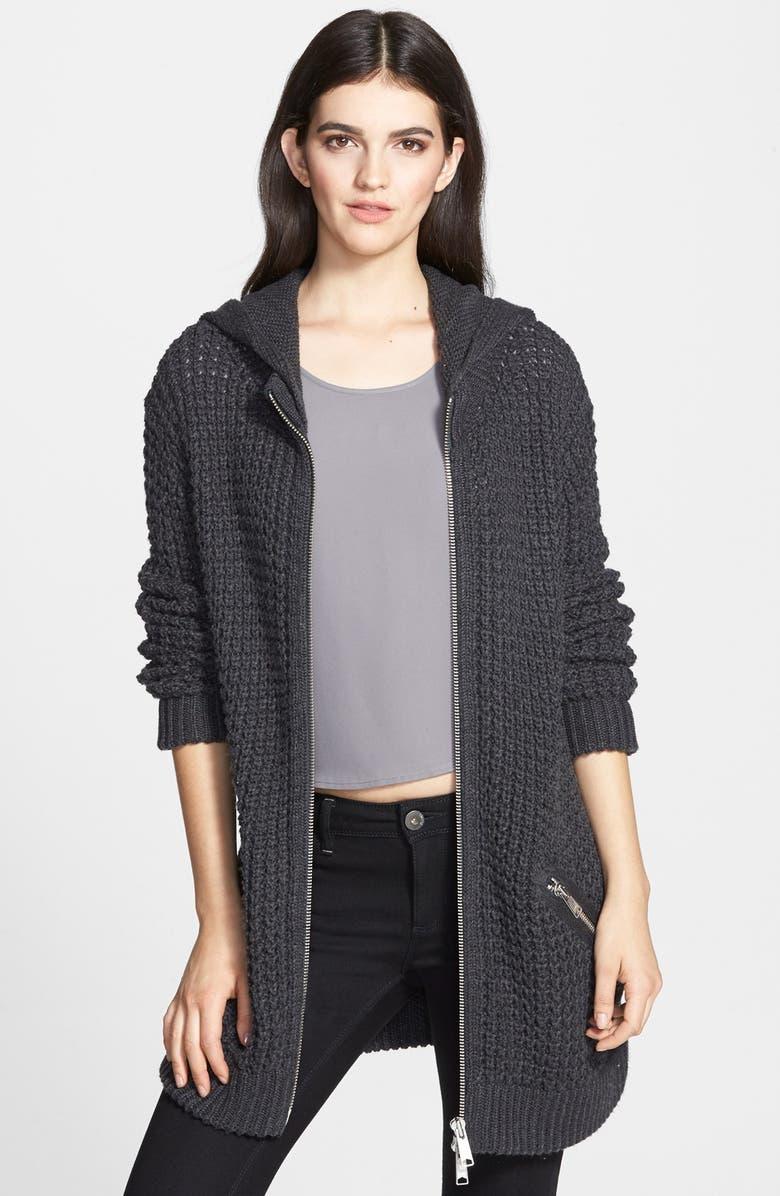 TROUVÉ Waffle Knit Sweater Coat, Main, color, 021