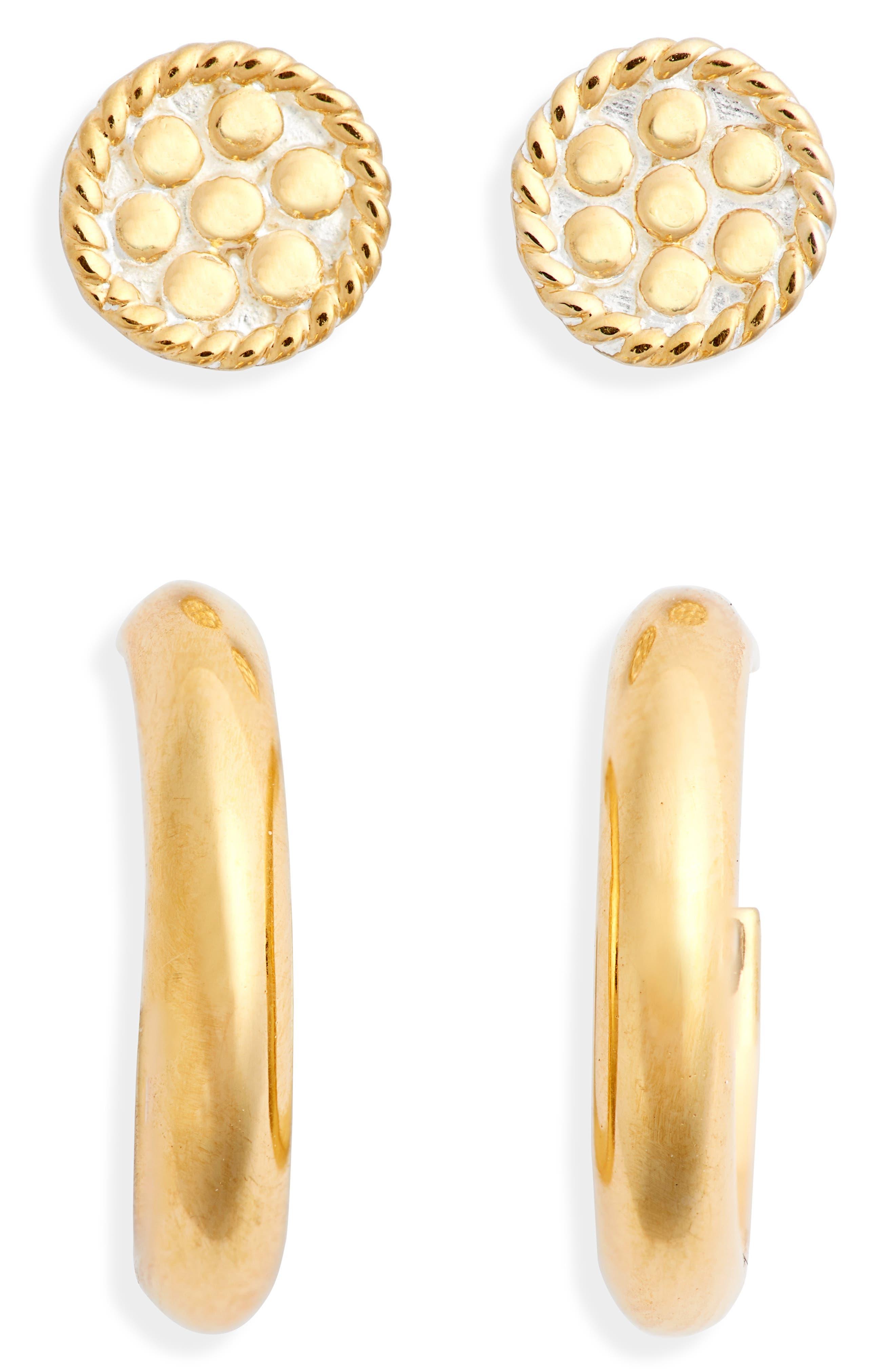 Set Of 2 Stud & Huggie Hoop Earrings