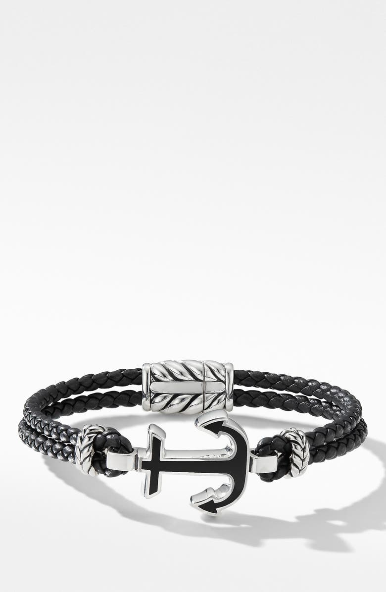 DAVID YURMAN Maritime<sup>®</sup> Anchor Station Black Leather Bracelet with Black Onyx, Main, color, SILVER/ BLACK ONYX
