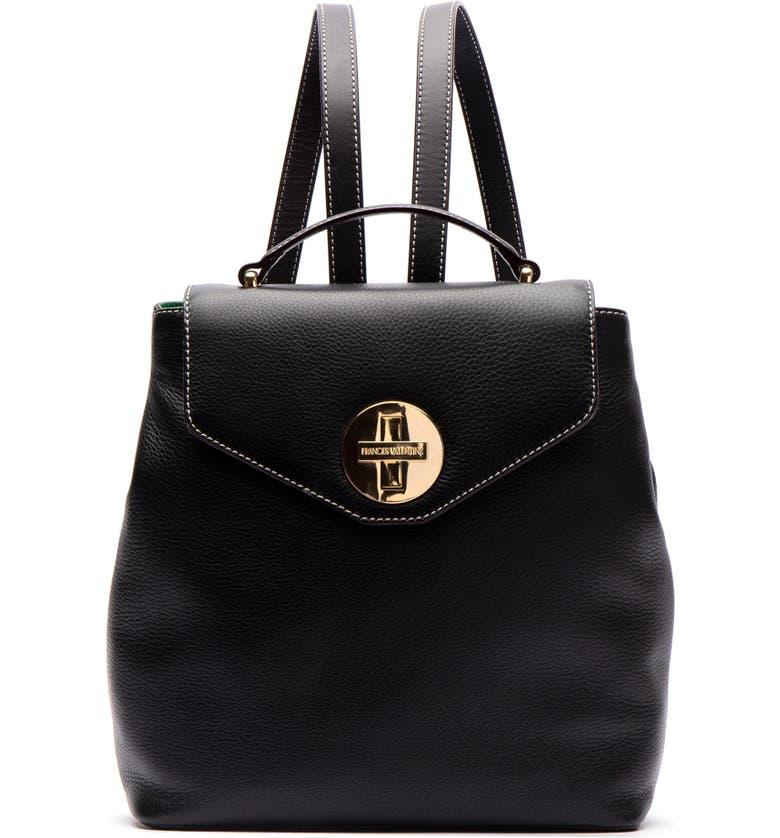 FRANCES VALENTINE Midge Leather Backpack, Main, color, BLACK
