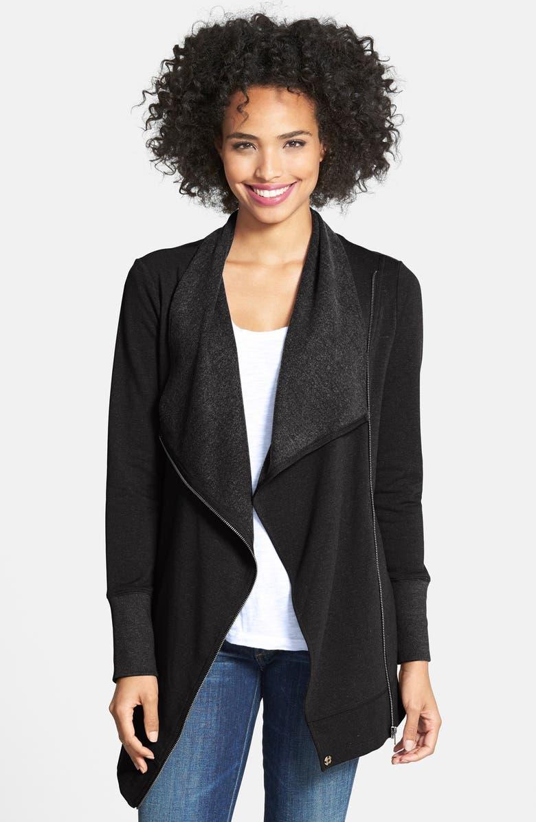 CASLON<SUP>®</SUP> Knit Drape Front Jacket, Main, color, 001