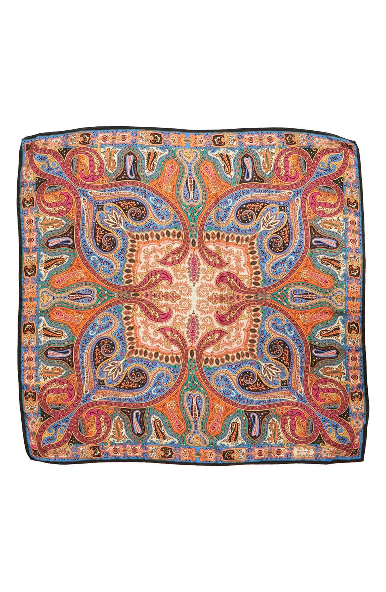 ETRO Radial Paisley Cashmere & Silk Scarf, Main, color, 400