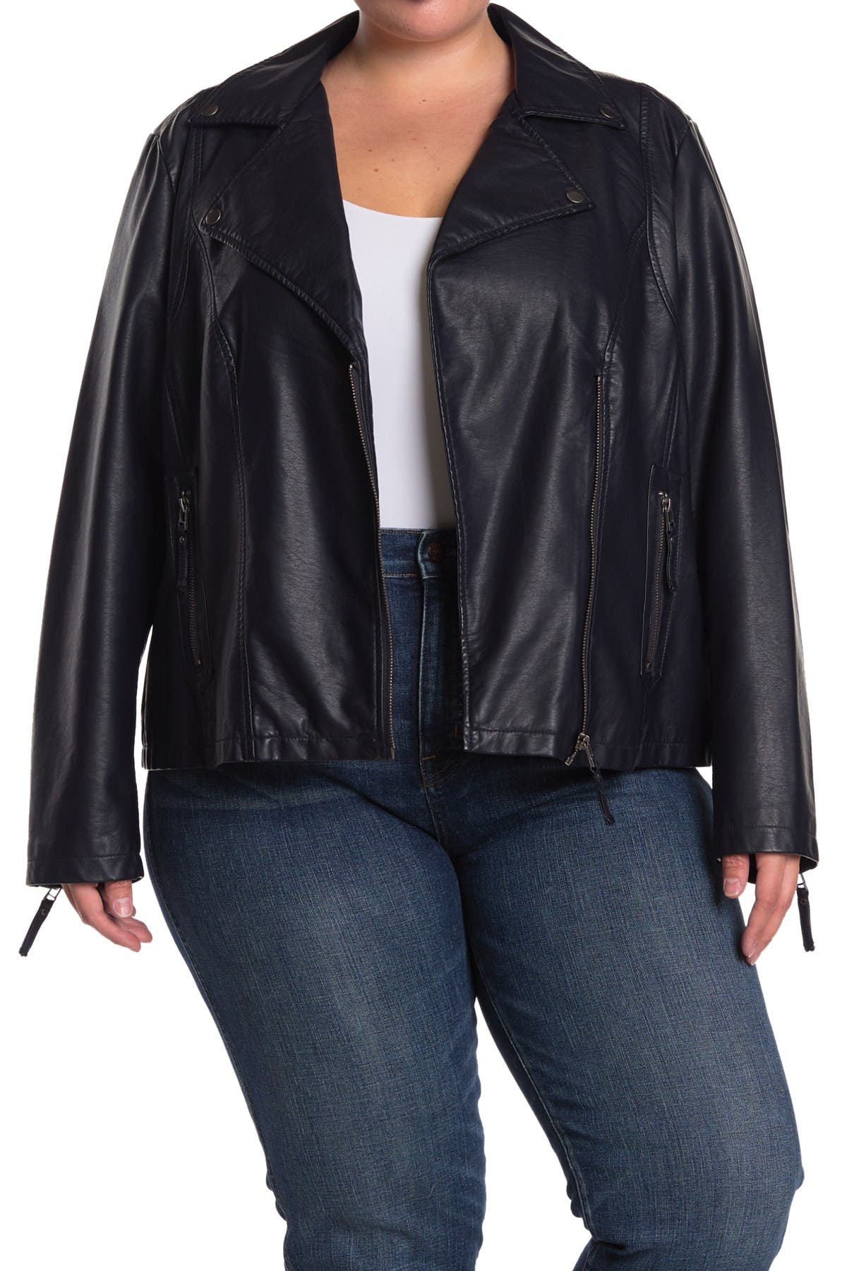 Image of Max Studio Faux Leather Moto Jacket