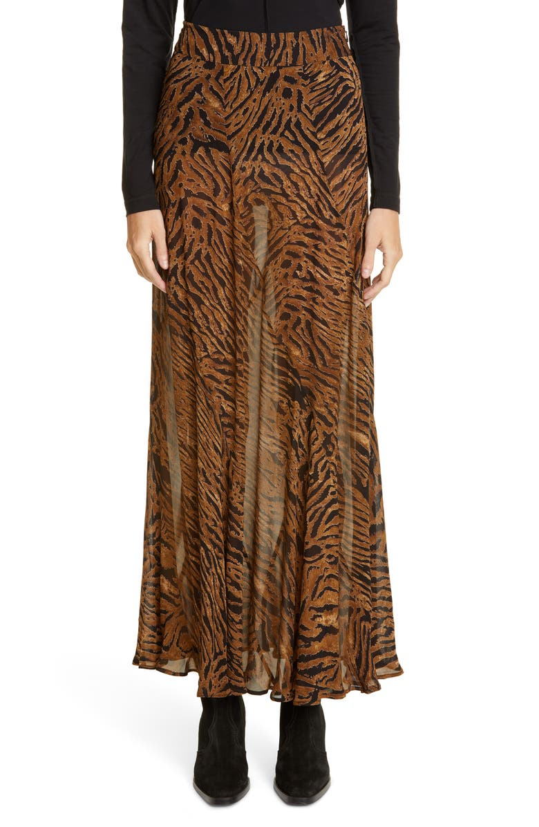 GANNI Tiger Print Sheer Georgette Maxi Skirt, Main, color, TIGER