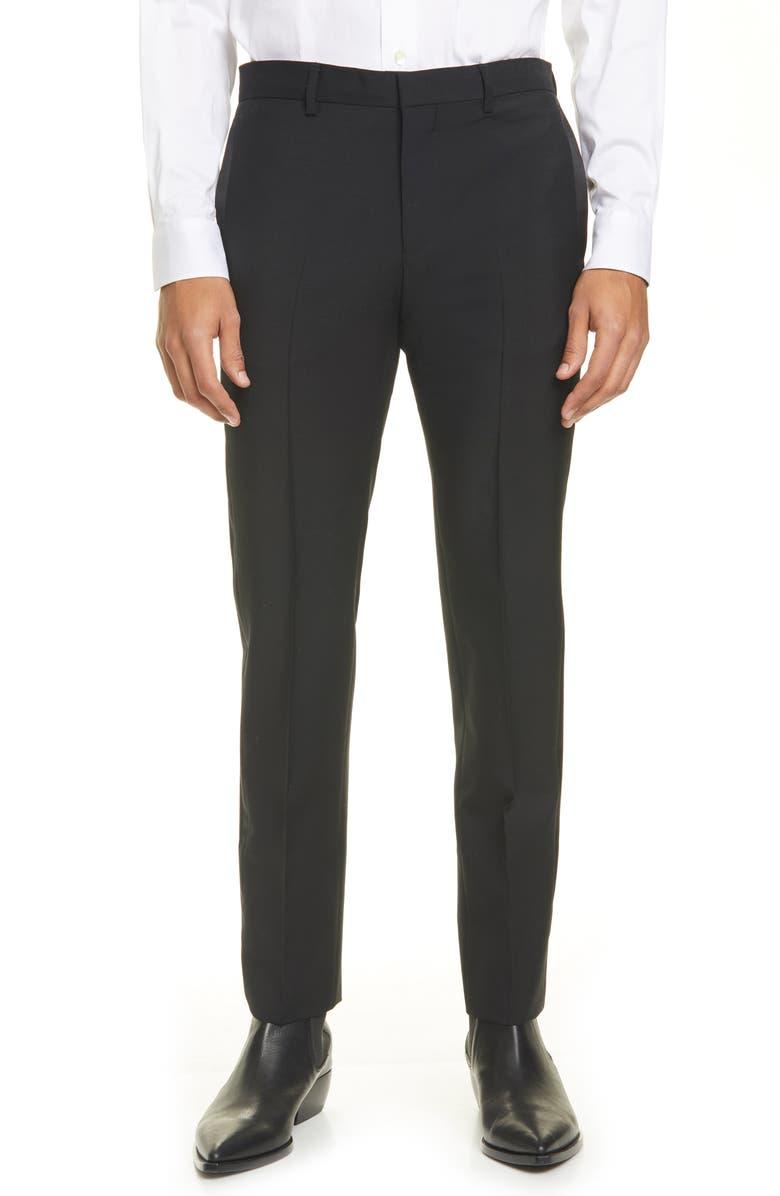 GIVENCHY Slim Fit Satin Stripe Dress Pants, Main, color, BLACK