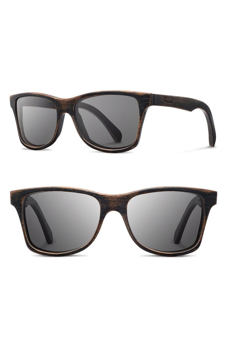 SHWOOD 'Canby' 54mm Polarized Wood Sunglasses, Main, color, DISTRESSED DARK WALNUT/ GREY