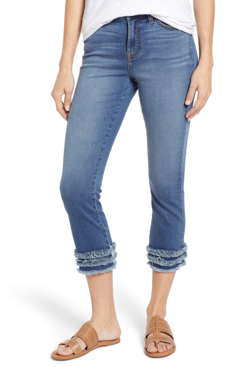 JEN7 BY 7 FOR ALL MANKIND Crop Fringe Hem Jeans, Main, color, SUNSET