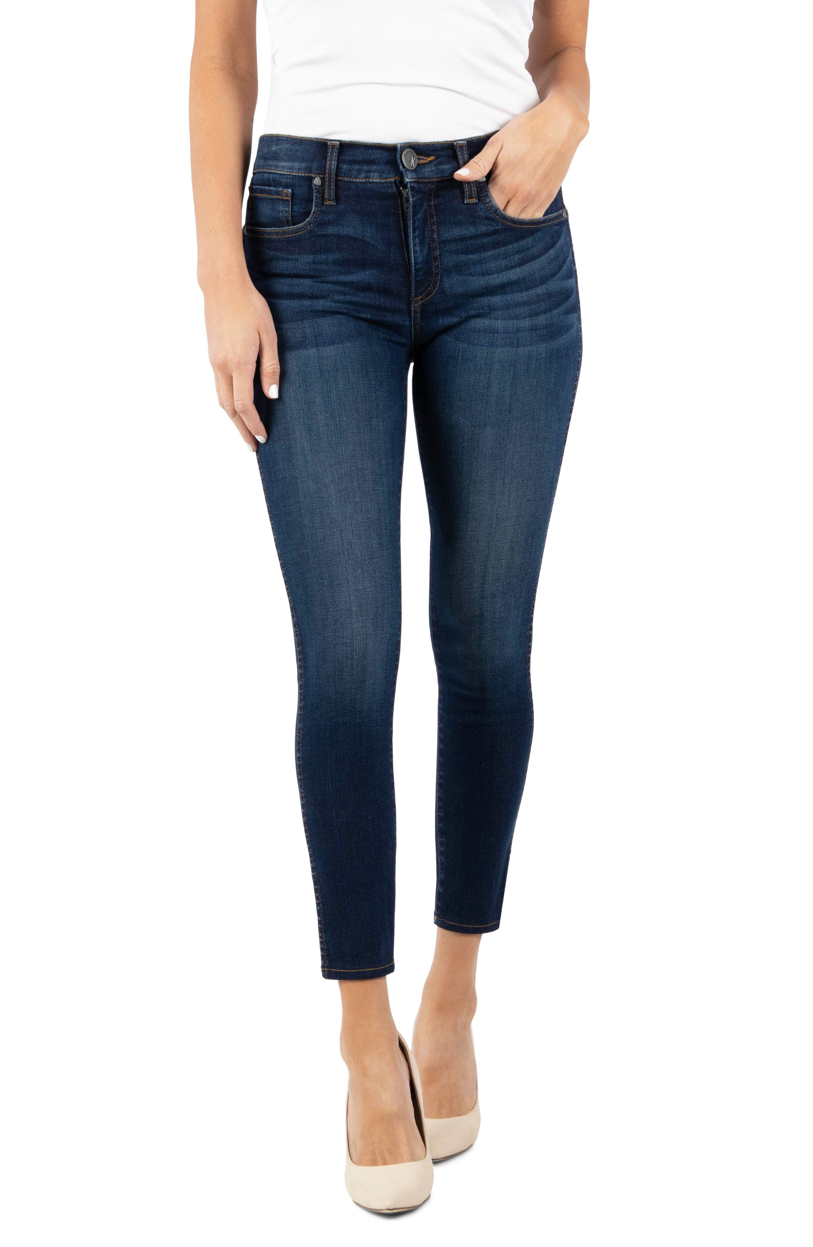 KUT from the Kloth Connie Fab Ab High Waist Ankle Skinny Jeans (Carefulness)   Nordstrom