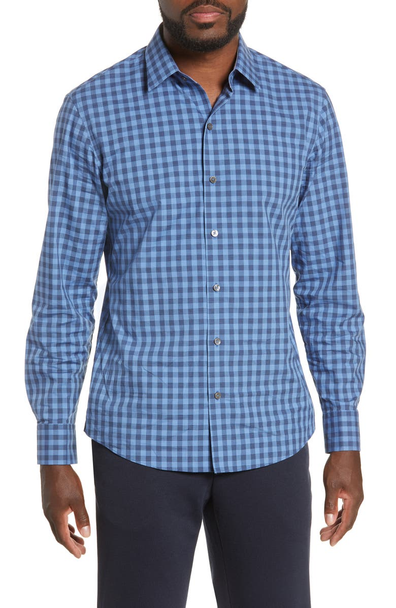 ZACHARY PRELL Schwantes Regular Fit Check Sport Shirt, Main, color, DK BLUE