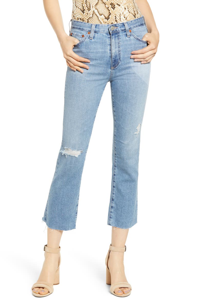 AG Jodi Distressed Crop Flare Jeans, Main, color, 19 YEARS HOLLOW DESTRUCTED
