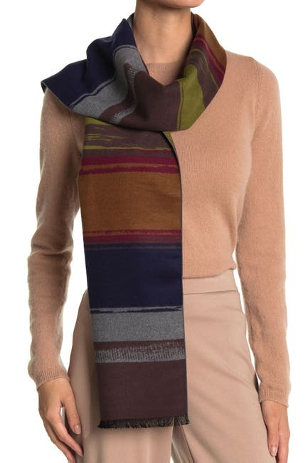 Image of Chelsey Imports Sand Art Colorblock Stripe Silk Scarf
