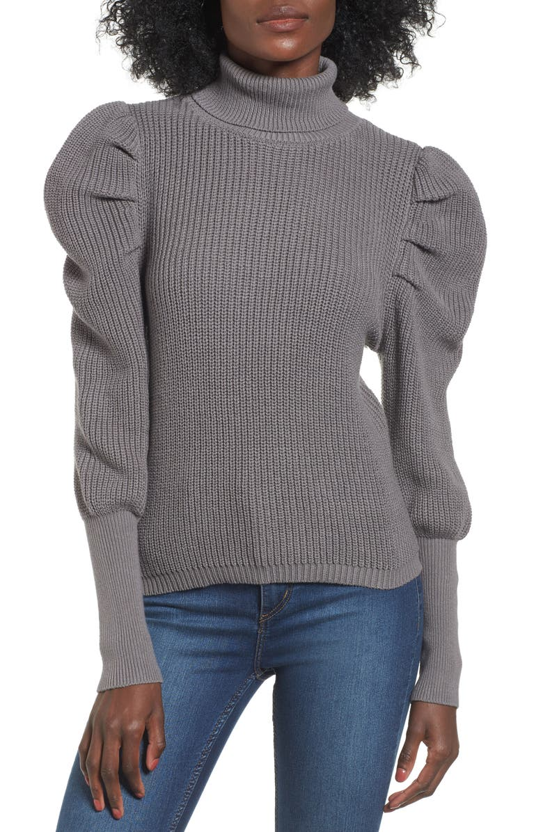 LEITH Puff Sleeve Turtleneck Sweater, Main, color, 030
