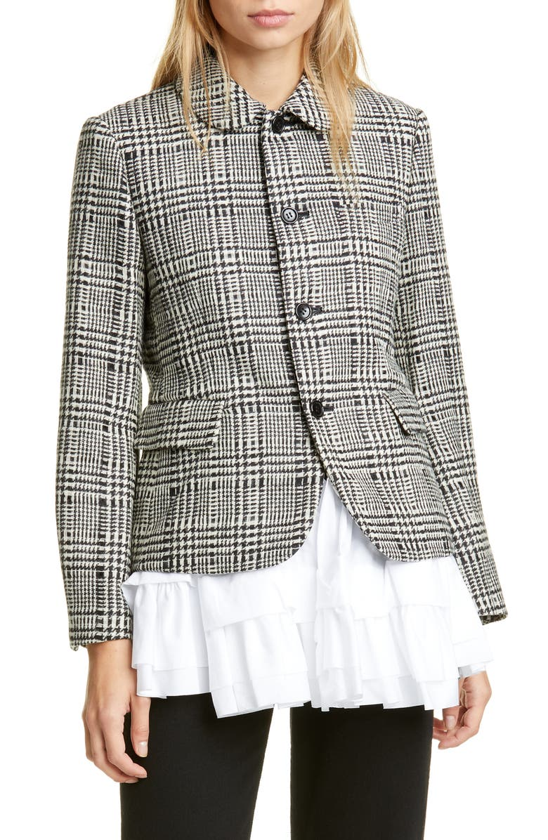 COMME DES GARÇONS Ruffle Hem Glen Check Wool Jacket, Main, color, NATURAL/ BLACK X WHITE