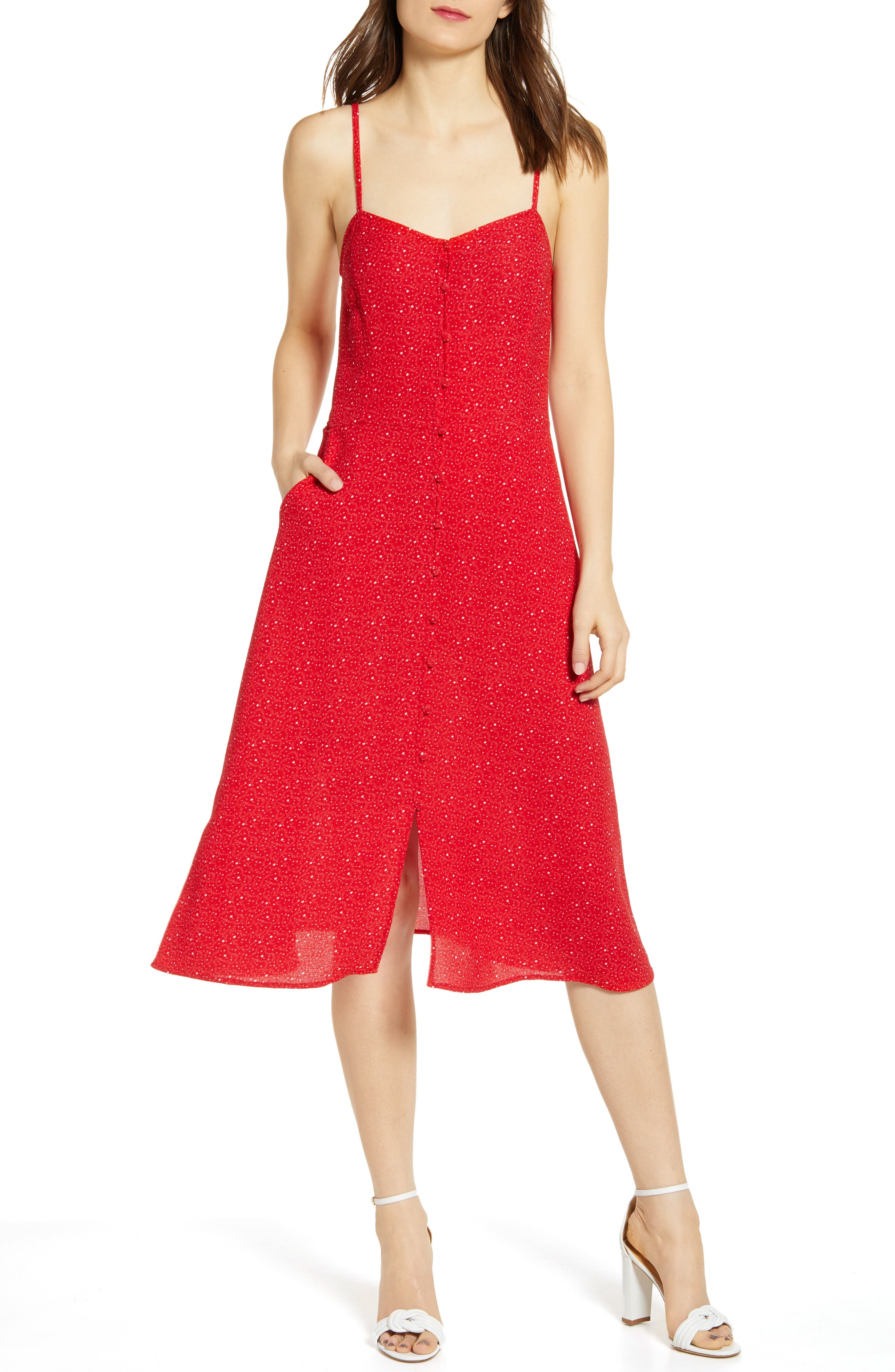 Chelsea28 Button Front Sundress, Red