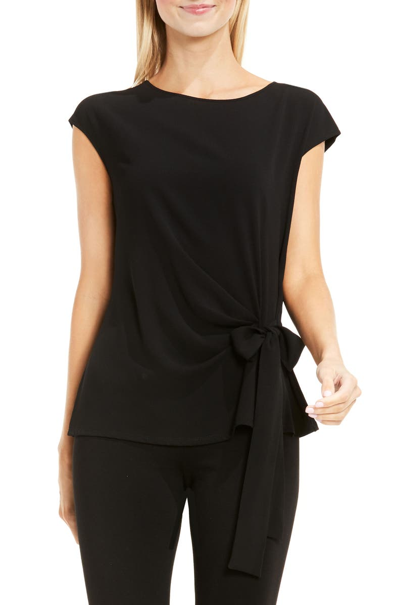 VINCE CAMUTO Mixed Media Tie Front Blouse, Main, color, RICH BLACK